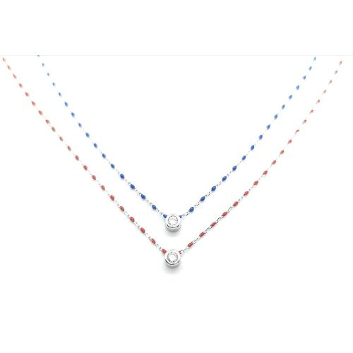 Collier ANARTXY simple perles bleues